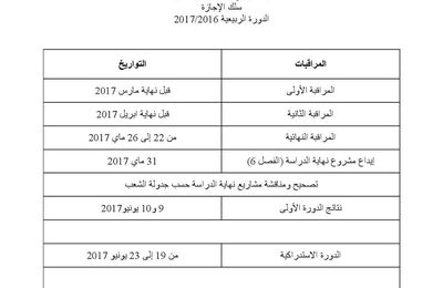 Dates des contrôles et des examens 2016/2017