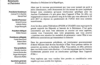 la FNDIRP et Anita Baudouin, Secrétaire Générale, ont écrit au Président de la République quant à l'absence de Secrétaire d'Etat aux Anciens Combattants et à la Mémoire dans le nouveau Gouvernement