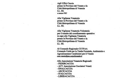 Annotazione sul Tesserino  dei capi prelevati di selvaggina - comunicazione dalla Regione Veneto