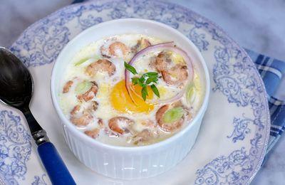 Oeuf cocotte aux crevettes et pommes de terre de Noirmoutier