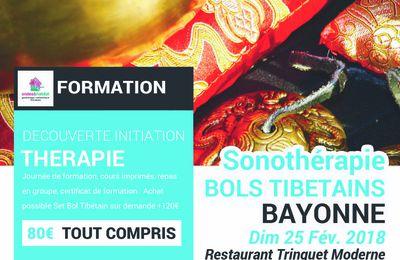 """BAYONNE-Formation Sonotherapie """"BOLS TIBETAINS, utilisation CORPS et CHAKRAS"""" Dimanche 25 Février 2018"""