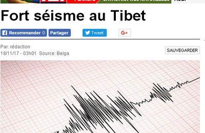 Un séisme de magnitude 6,9 frappe le Tibet provoque une panne électrique et des dégats sur des bâtiments dans certains villages de la ville de Nyingchi et Aucune victime n'a été signalée .L'USGS fait état d'au moins une autre secousse, secondaire, dans la même région deux heures plus tard: un séisme de magnitude 5.1 situé à quelques kilomètres plus au nord 18/11/2017