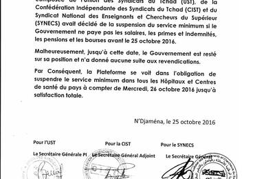 Tchad: une coalition syndicale durcit le ton et suspend le service minimum jusqu'à la satisfaction totale des revendications sociales