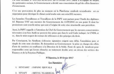 Tchad: la Fédération des Syndicats des Services Publics du Tchad dénonce une circulaire controversée