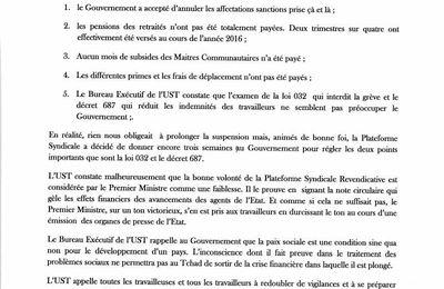 L'UST appelle à la mobilisation générale, la grève repart au Tchad.