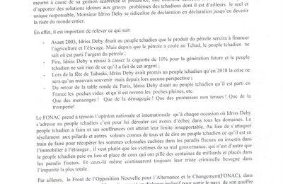 Tchad: le FONAC met en garde le pouvoir