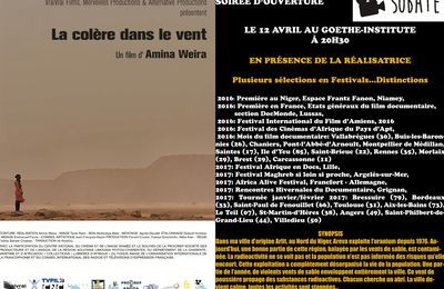 SOIRÉE D'OUVERTURE: LA COLÈRE DANS LE VENT DE AMINA WEIRA  À 20H30