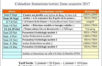 Calendrier formations 2nd semestre 2017