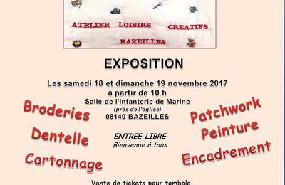 Exposition - Club Atelier Loisirs Créatifs - Bazeilles - 18 et 19 novembre 2017