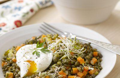 La salade de lentilles aux oeufs pochés