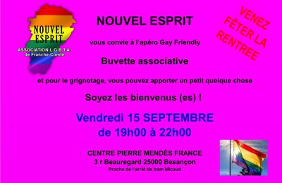 Apéro Gay-Friendly Vendredi 15 SEPTEMBRE