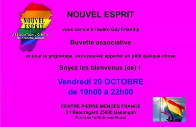 Apéro Gay-Friendly Vendredi 20 OCTOBRE