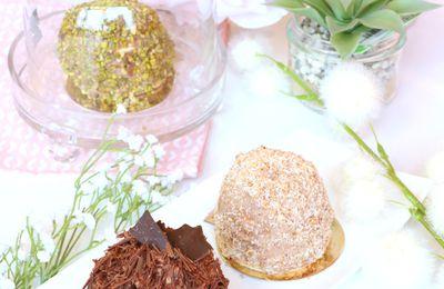 | Le Merveilleux au chocolat | aux copeaux de chocolat, noix de coco et pistaches concassées