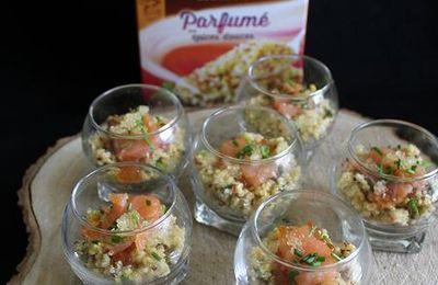 Verrines de Quinoa Gourmand aux épices douces,  saumon fumé et oeufs de saumon