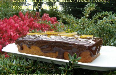 Cake aux pommes, saveurs vanille/orange, couverture chocolat