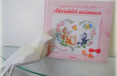 Agenda point de croix 2018 - Adorables animaux - Mango