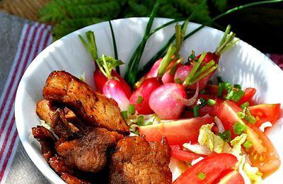 Filet mignon mariné croustillant, salade composée
