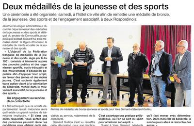 La médaille de bronze JSEA pour Yves Bernard et Bernard Guillou