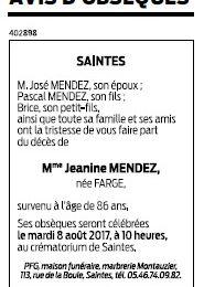 Décès de Jeanine, épouse de José MENDEZ