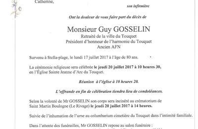 Décès de Monsieur GOSSELIN, ancien président de l'Harmonie du Touquet