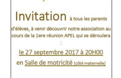 Venez découvir l'APEL au cours de la 1ere réunion mercredi 27 septembre à 20H00