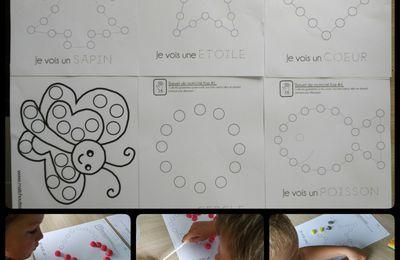 Coloriage à gommettes ou playmaïs, modèles à imprimer. Collage.