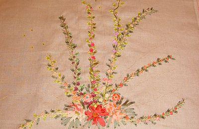 broderie au ruban de soie pour mon amie d'enfance Anne Marie