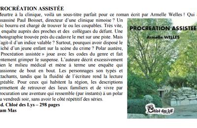 """Dans Bruxelles news """"Procréation assistée"""" d'Armelle Welles"""
