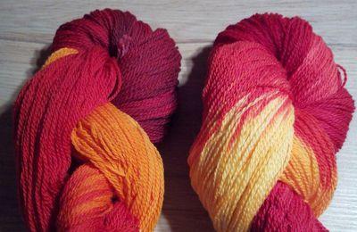 Quelques échantillons de mes réalisations de teinture de laine ou de coton à la main