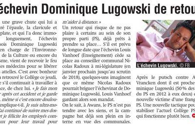 Article de la Meuse de ce jour : L'échevin Dominique Lugowski de retour