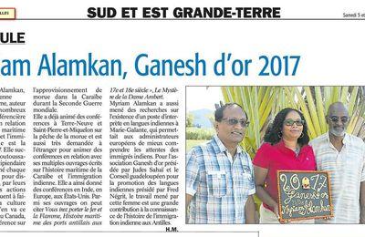 Le Ganesh d'Or 2017 dans la presse de Guadeloupe