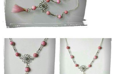 Ma collection de roses , un collier mi-long et un sautoir , tout en romantisme
