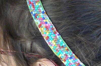 bandeau pour cheveux en perles brodées