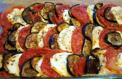 Tian aux aubergines, mozzarella et tomates