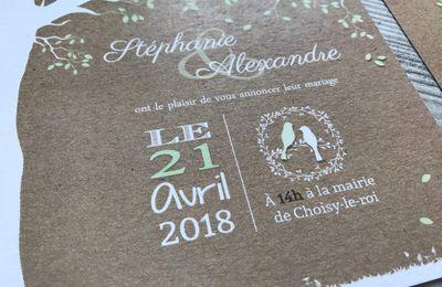Le faire part de mariage nature champêtre de Stéphanie et Alexandre ...