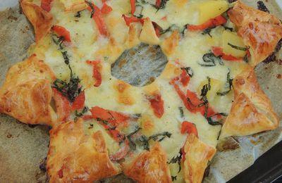 PIZZA ETOILE DES NEIGES AU SAUMON FUME ET POMMES DE TERRE