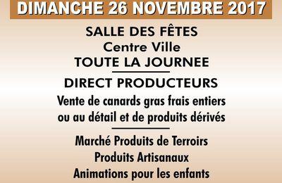 A vos agendas foire aux gras à Théza le 26 novembre 2017