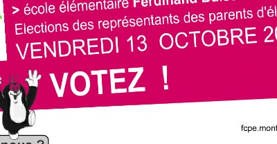 Du 9 au 13 octobre, Elections des représentants de parents d'élèves.  Donnez leur du poids, VOTEZ !