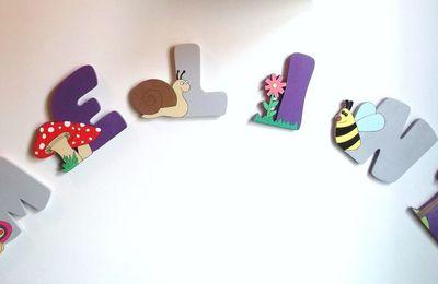 Lettres en bois thème jardin