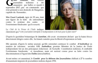 ASSASSINAT  DE LA JOURNALISTE  GAURI  LANKESH  à BANGALORE (Inde)