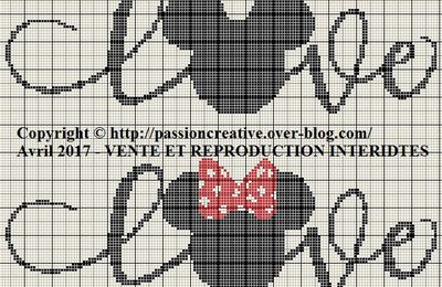 Grille gratuite point de croix : Mickey et Minnie love 1