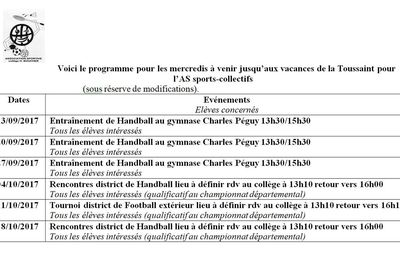 PROGRAMME SPORTS-COLLECTIFS