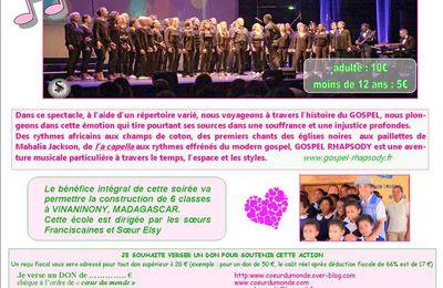 GOSPEL RHAPSODY, NOTRE SPECTACLE DU 20 OCTOBRE 2017 Salle Yprésis à St Hilaire de Loulay.