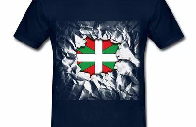 T shirt Pays Basque bleu m homme 64 Drapeau basque Design