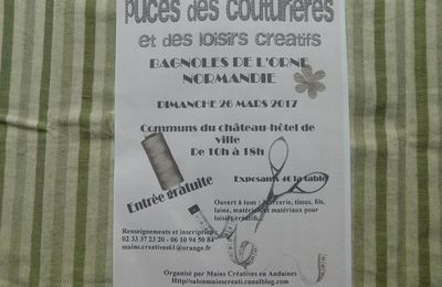 Puces des couturières à Bagnoles de l'Orne (61) le 26 mars de 10h à 18h