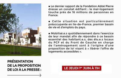 Conférence de presse : Proposition de loi des élu-e-s Front de Gauche contre le mal logement et la spéculation immobilière