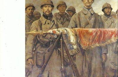 UNE GARDE AU DRAPEAU AU BIVOUAC PENDANT LES COMBATS DE 1917
