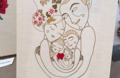 Ricamo tradizionale della maestra Carla, per il concorso '' Abbracci '' a Villa Buri