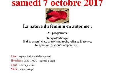"""A l'Espace Aiguète à Hauterives  """"journée Automne""""  7 octobre avec Marie-Pierre Faratche et Anne Reynaud"""
