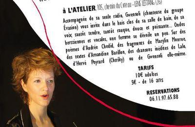 Gwen Soli, chanteuse du groupe Evasion en One Woman Show à L'ATELIER Lens-Lestang